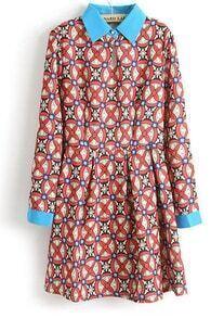 Red Contrast Lapel Geometric Print Dress