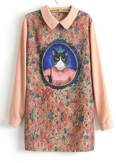 Pink Long Sleeve Cat Queen Print Straight Dress