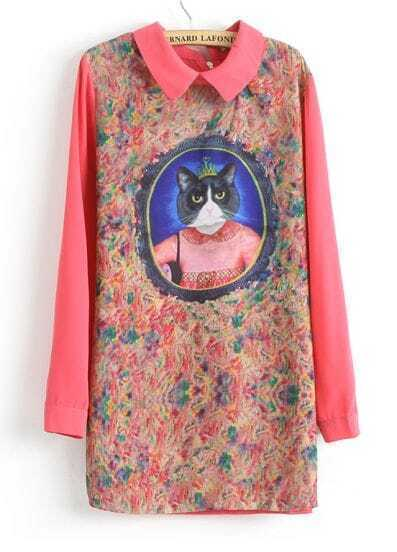 Red Long Sleeve Cat Queen Print Straight Dress