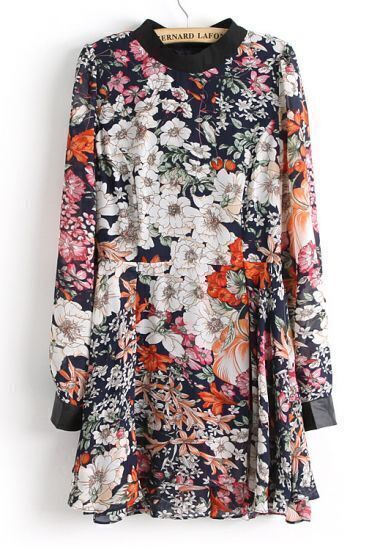 Navy Long Sleeve Contrast Leather Floral Dress
