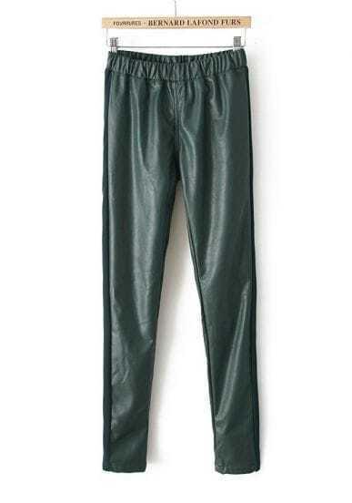 Dark Green Elastic Waist PU Leather Pant