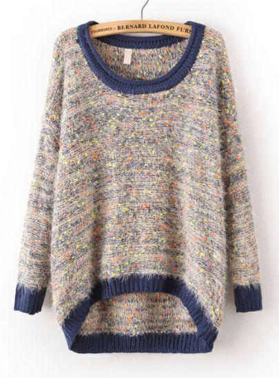 Blue Long Sleeve Shaggy Asymmetrical Knit Sweater