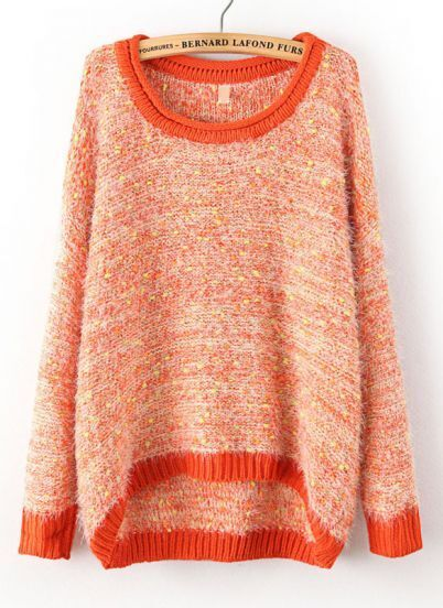 Orange Long Sleeve Shaggy Asymmetrical Knit Sweater