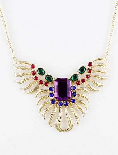 Multi Gemstone Gold Leaf Necklace