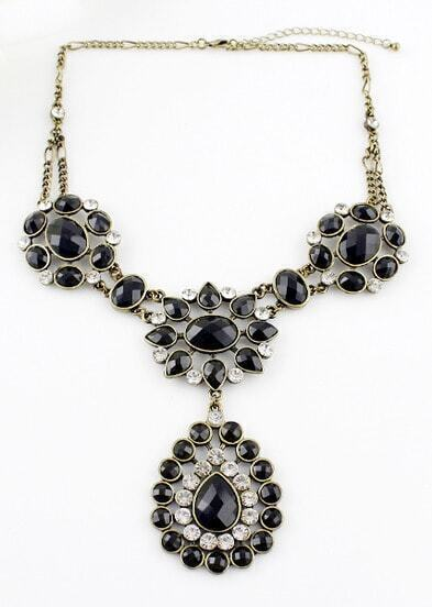 Black Drop Gemstone Retro Gold Chain Necklace
