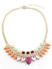 Multi Drop Gemstone Gold Chain Necklace