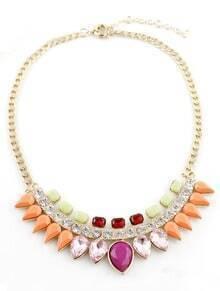 Multi Drop Gemstone Gold Chain Necklace