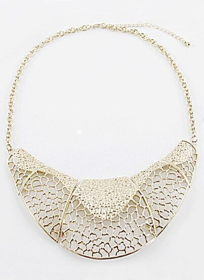 Gold Hollow Out Collar Chain Necklace