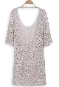 Apricot Short Sleeve Backless Hollow Embroidery Dress