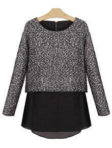 Grey Long Sleeve Contrast Chiffon Zipper Sweater