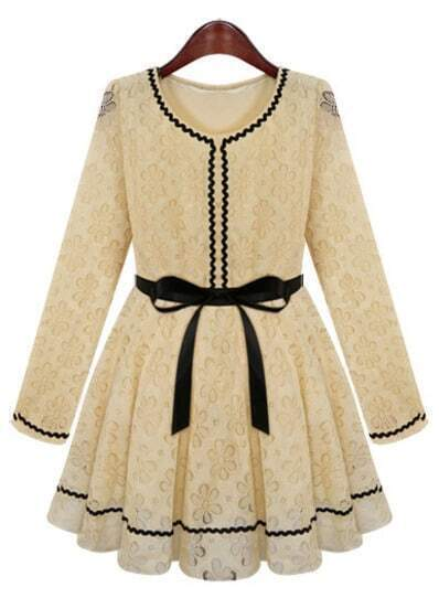 Tan Apricot Long Sleeve Contrast Trims Belt Lace Dress