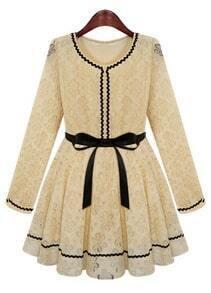 Tan Apricot Long Sleeve Contrast Trims Belt Lace Dress