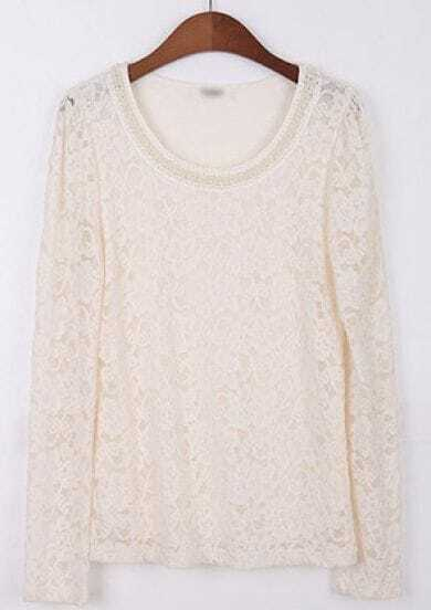 White Contrast Collar Long Sleeve Lace Blouse