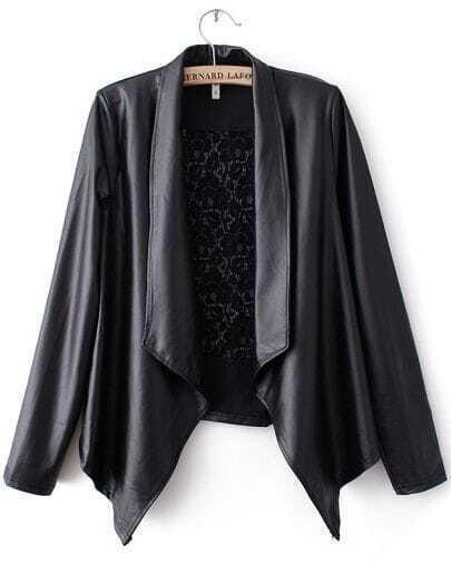 Black Lapel Long Sleeve Lace PU Leather Jacket