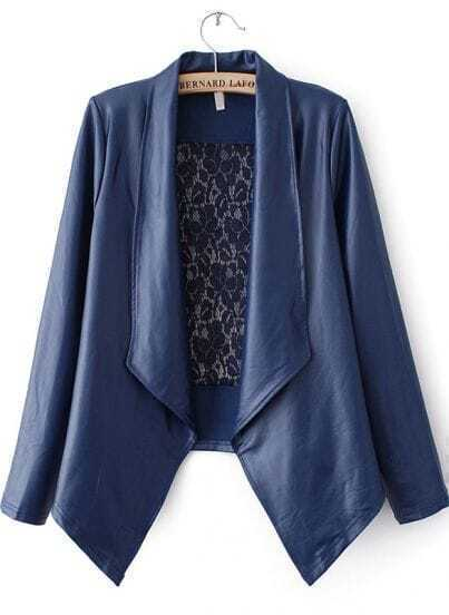 Blue Lapel Long Sleeve Lace PU Leather Jacket