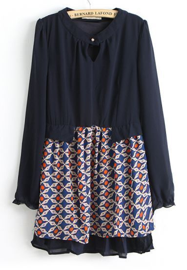 Blue Long Sleeve Geometric Print Pleated Dress