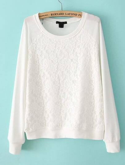 White Long Sleeve Contrast Lace Sweatshirt