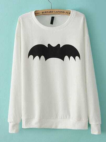 White Long Sleeve Bat Print Loose Sweatshirt