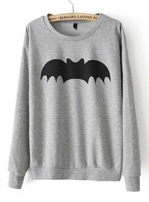 Grey Long Sleeve Bat Print Loose Sweatshirt