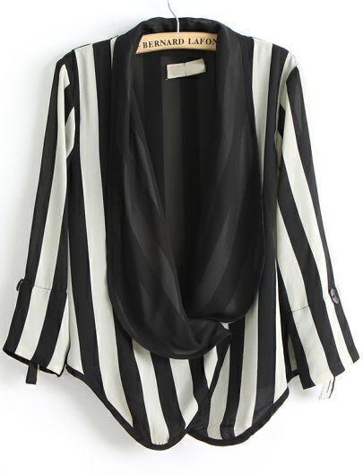 Black White Vertical Stripe Long Sleeve Blazer