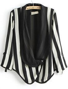 Black White Vertical Stripe Long Sleeve Blazer