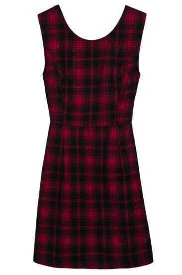 Red Black Sleeveless Plaid Backless Dress