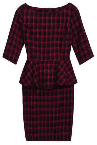Red Black Plaid Short Sleeve Ruffle Dress