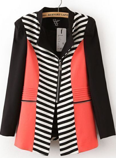 Black Contrast Red Stand Collar Striped Blazer
