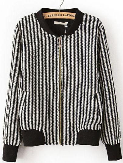 Black White Vertical Stripe Stand Collar Jacket