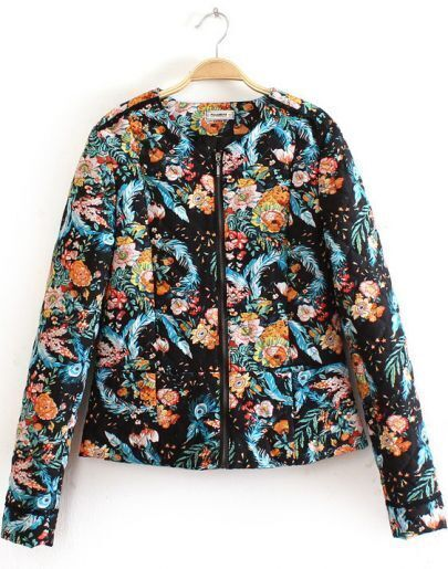 Black Long Sleeve Diamond Pattern Floral Jacket