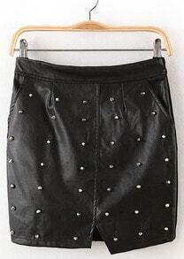 Black Rivet Split PU Leather Skirt