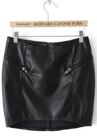 Black Zipper Bodycon Skirt