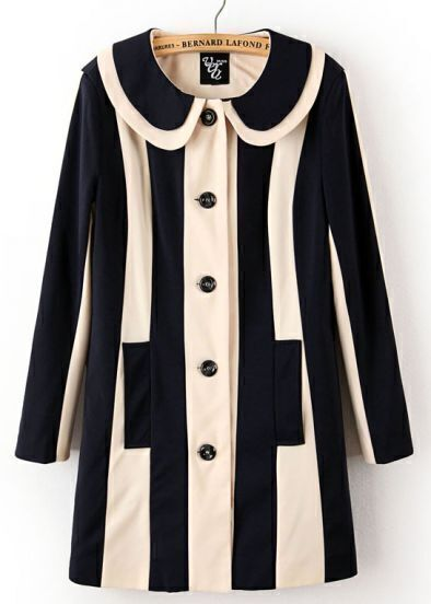 Black White Vertical Stripe Lapel Trench Coat