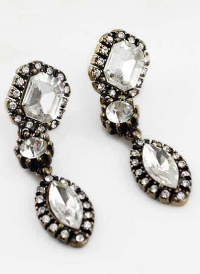 Retro Gold Crystal Geometric Earrings