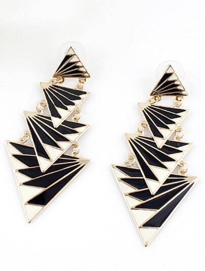 Gold Triangle Splice Earrings
