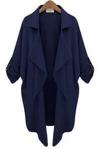 Navy Long Sleeve Casual Loose Pockets Coat