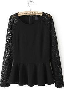 Black Lace Sleeve Ruffle Hem Peplum Top