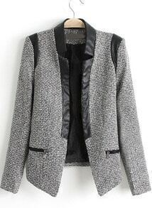 Grey Contrast PU Leather Trims Tweed Crop Blazer