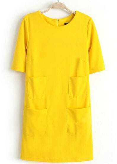 Yellow Short Sleeve Four Pockets Short Dress