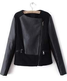 Black Contrast PU Leather Asymmetric Zip Jacket