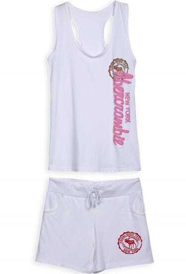 White Sleeveless Letters Print Top With Drawstring Shorts