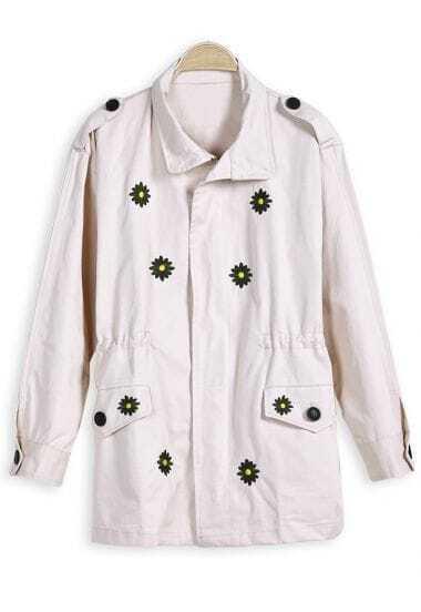 Beige Long Sleeve Daisy Embroidery Jacket