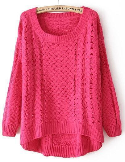 Rose Red Round Neck Long Sleeve Hollow Asymmetric Sweater