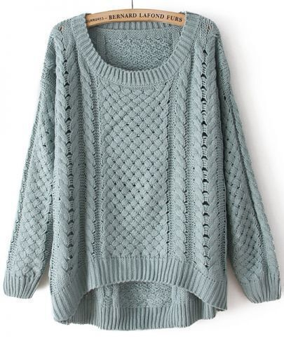 Green Round Neck Long Sleeve Hollow Asymmetric Sweater