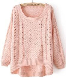 Pink Round Neck Long Sleeve Hollow Asymmetric Sweater