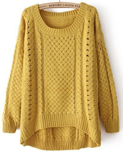 Yellow Round Neck Long Sleeve Hollow Asymmetric Sweater