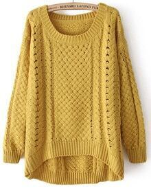 Yellow Round Neck Long Sleeve Hollow Asymmetric Sweater