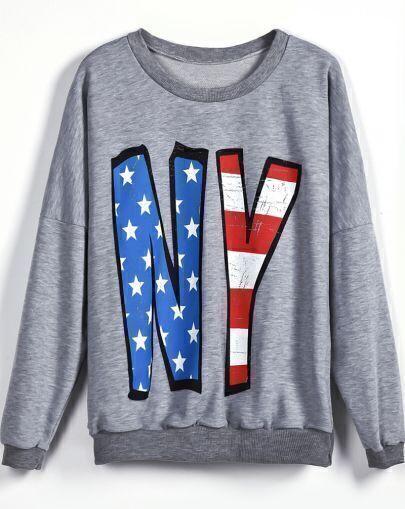 Grey Long Sleeve Stars Striped NY Print Sweatshirt