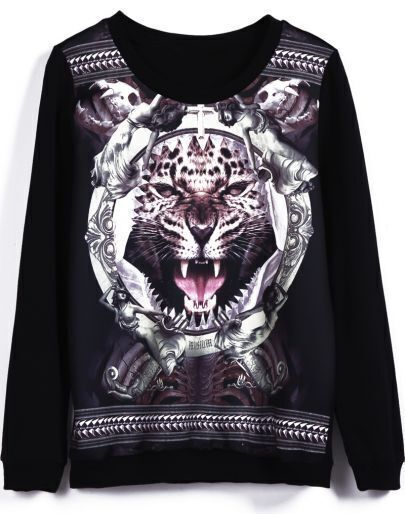 Black Long Sleeve Tiger Print Loose Sweatshirt