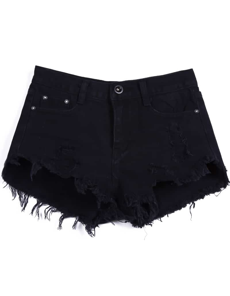 Black Buttons Ripped Fringe Denim Shorts -SheIn(Sheinside)